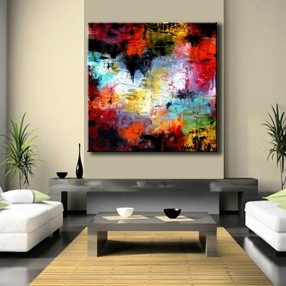 "Large 48"" X 48"" Xxl Abstract Painting Original Painting On Canvas For Newest 48X48 Canvas Wall Art (View 1 of 15)"