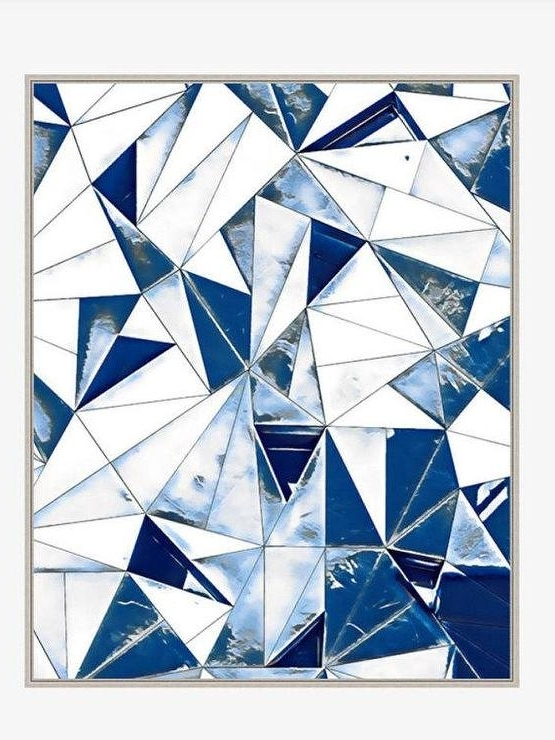 Large Abstract Blue White Triangles Wall Art Regarding Well Known Blue And White Wall Art (View 9 of 15)