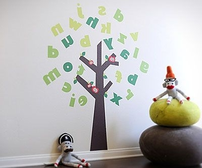 Large Alphabet Tree Fabric Wall Decals For Playroom, Classroom Or Throughout Most Recently Released Preschool Classroom Wall Decals (View 4 of 15)