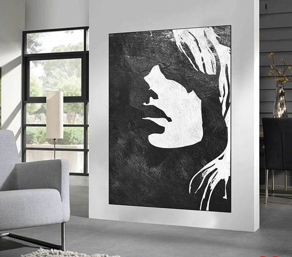 Large Black And White Wall Art Pertaining To Latest Black White Minimalist Abstract Painting Woman Face Silhouette (View 2 of 15)