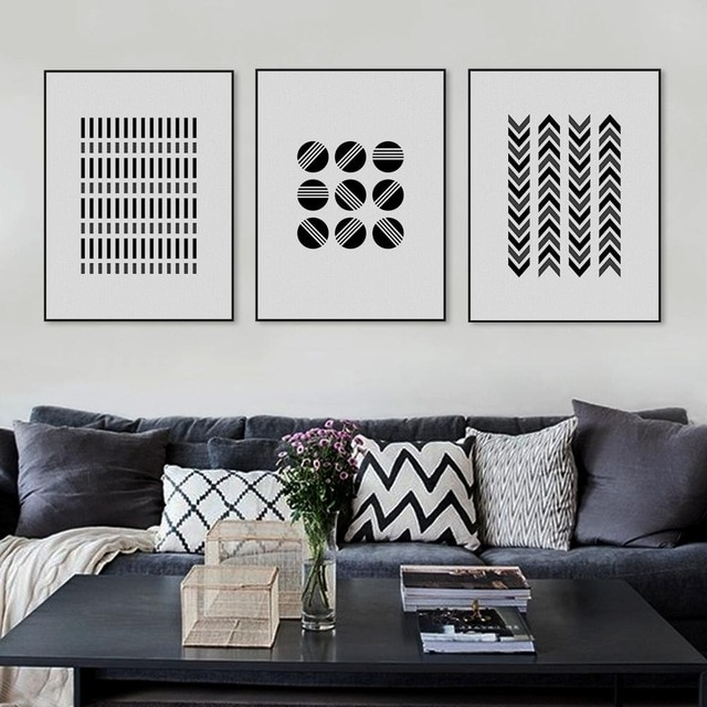 Large Black And White Wall Art With Regard To Preferred Black White Modern Abstract Geometric Shape Canvas Large Print (View 10 of 15)