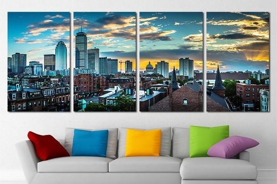 Large Boston City Canvas Wall Art Set Boston Canvas Art Boston