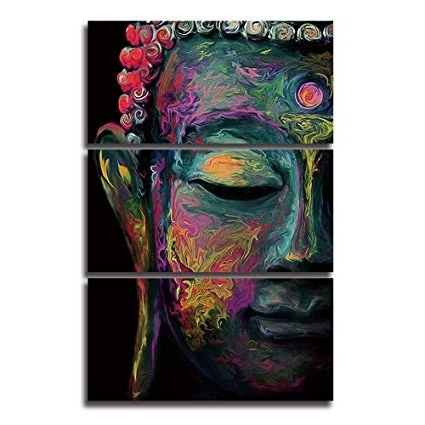 Large Buddha Wall Art Pertaining To Preferred Amazon: Shuaxin Modern Large Buddha Wall Art Print On Canvas (View 8 of 15)