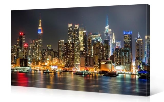 Large Canvas Print Wall Art – Manhattan Night Lights 40 X 20 Inch Pertaining To Most Popular Cityscape Canvas Wall Art (View 8 of 15)