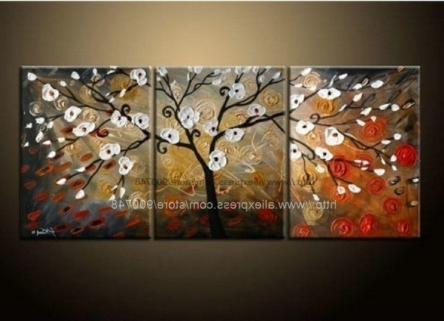Large Canvas Wall Art Sets With Trendy Modern Abstract Flower Wall Art On Canvas Oil Painting Abstract Wall (View 12 of 15)