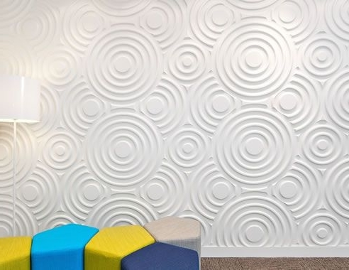 Large Circles Textured Wall Design, 3D Wall (View 4 of 15)