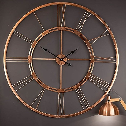 Large Copper Wall Art Throughout Well Liked Handmade Large Copper Color Wall Clock Metal Wall Art Sculpture Wall (View 6 of 15)