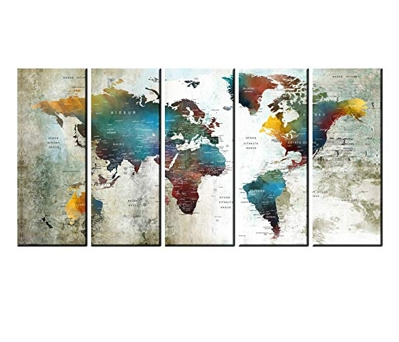 Large Framed Abstract Wall Art In Fashionable Amazon: Extra Large Wall Art Push Pin World Travel Map Print (View 12 of 15)