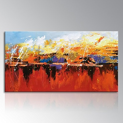 Large Framed Abstract Wall Art within Trendy Seekland Art Abstract Canvas Wall Art Modern Large Hand Painted
