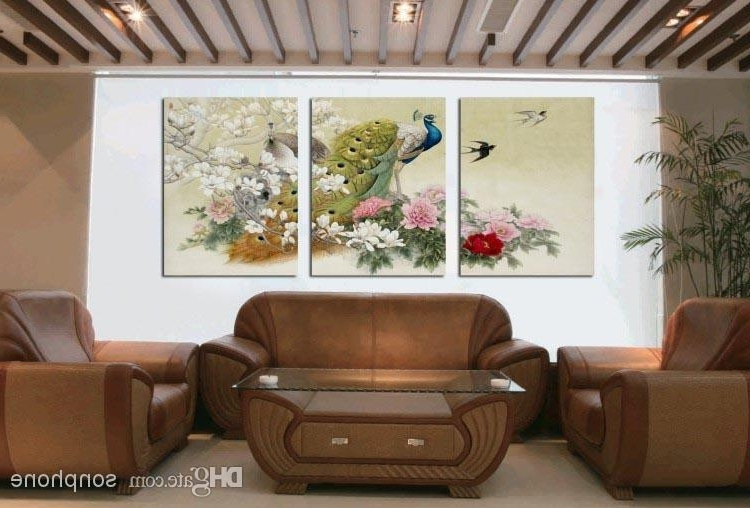 Large Framed Wall Art Throughout Latest Framed 3 Panel Large Peacock Wall Art Chinese Style Oil Painting (View 7 of 15)