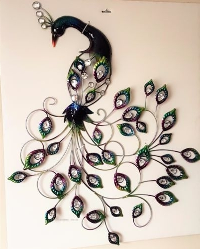 Large Jewelled Metal Peacock Wall Art Indoors Wall Hanging Art Home With Regard To Latest Peacock Metal Wall Art (View 6 of 15)