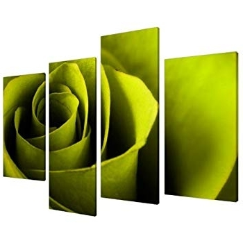 Large Lime Green Rose Floral Canvas Wall Art Pictures Prints Xl 4110 Inside Most Recent Lime Green Wall Art (View 4 of 15)