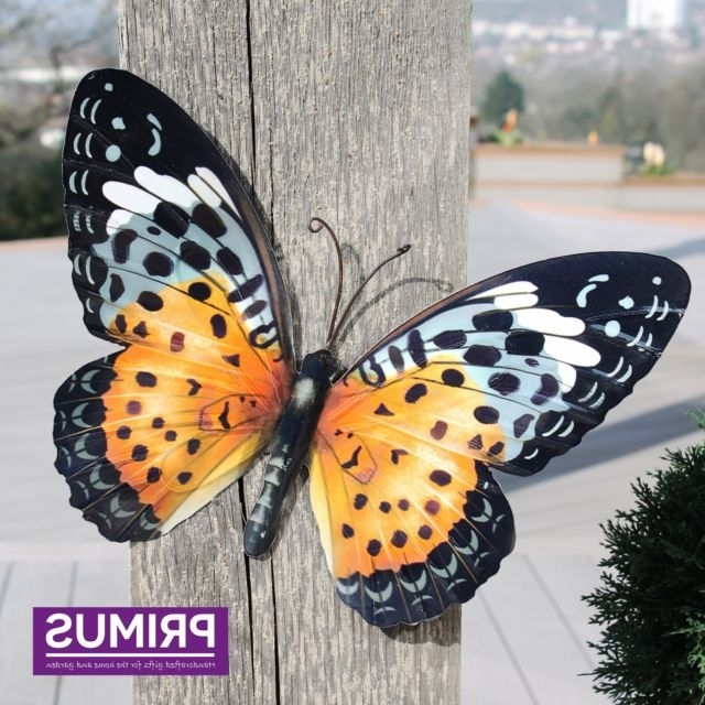 Large Metal Butterfly Orange And Black – Outdoor Garden Wall Art Inside Preferred Large Metal Butterfly Wall Art (View 14 of 15)