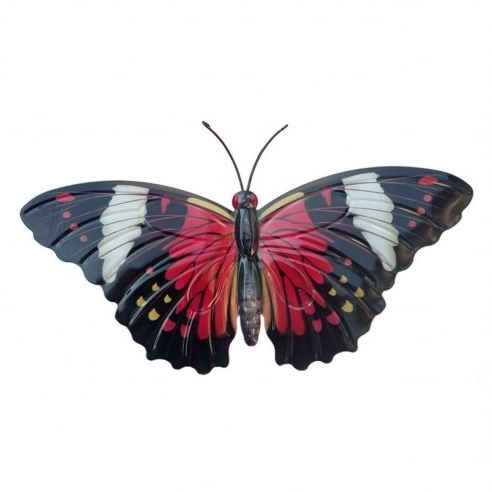 Large Metal Butterfly Wall Art For Well Liked Large Red & Black Metal Garden Butterfly Wall Art (View 5 of 15)
