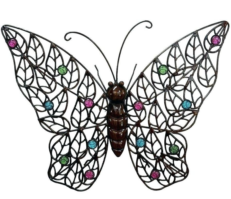 Large Metal Butterfly Wall Art Pertaining To Well Known Outdoor Butterfly Wall Decor Garden Metal Wall Art Butterfly Metal (View 8 of 15)