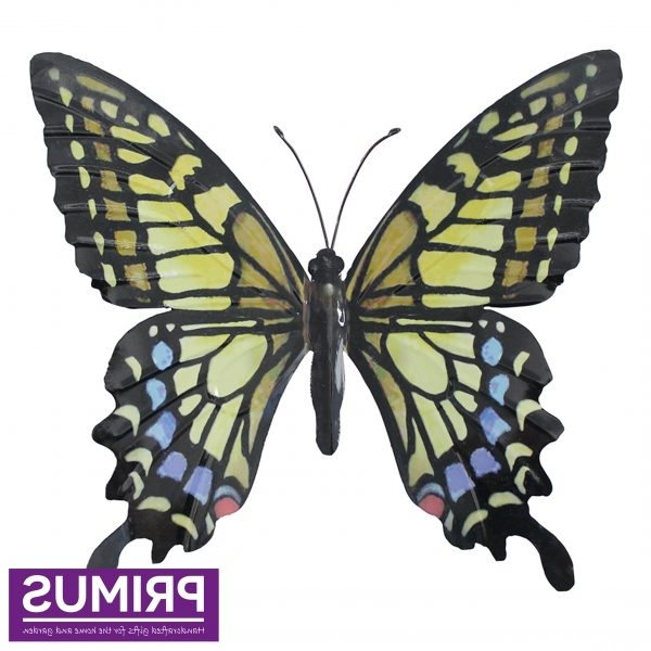 Large Metal Butterfly Wall Art With Widely Used Primus Large Metal Butterfly Wall Art – Yellow, Blue & Black Pa (View 3 of 15)