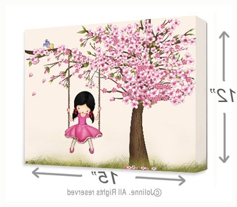 Large Nursery Kids Room Decor Canvas Artwork Girls Anais Tree Pertaining To Popular Girls Canvas Wall Art (View 15 of 15)