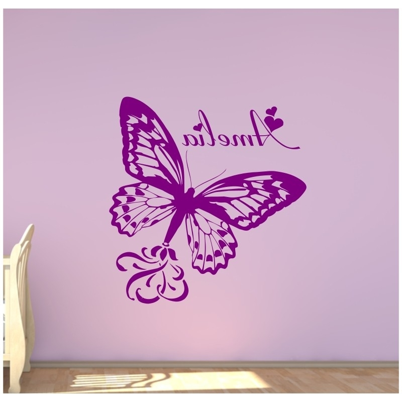 Large Personalised Butterfly With A Childs Name Bedroom Wall Sticker (View 14 of 15)