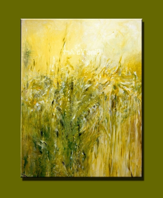 Large Piece Abstract Modern Canvas Wall Art Handmade Famous Green In Latest Yellow And Green Wall Art (View 5 of 15)