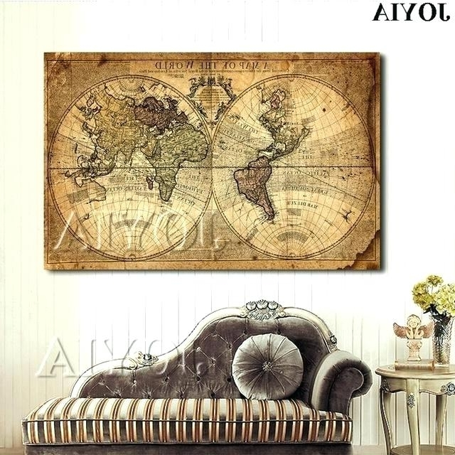 Large Retro Wall Art Vintage World Map Framed Vintage World Map Within Most Up To Date Large Retro Wall Art (View 8 of 15)