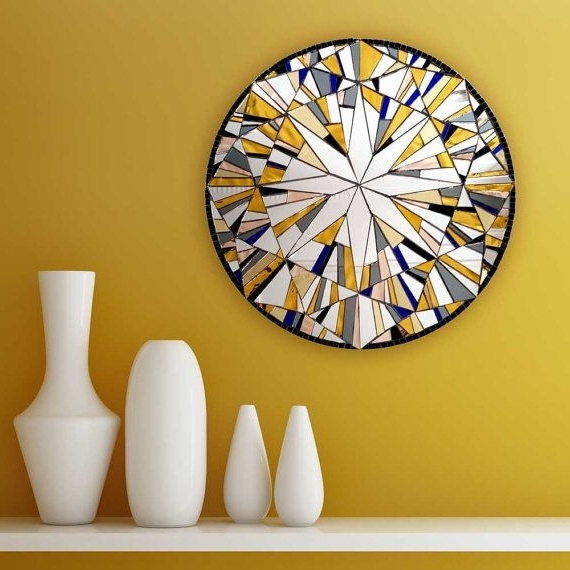 Large Round Wall Art Intended For Newest Yellow Wall Mirror, Round Wall Art, Modern Yellow Decor, Abstract (View 12 of 15)
