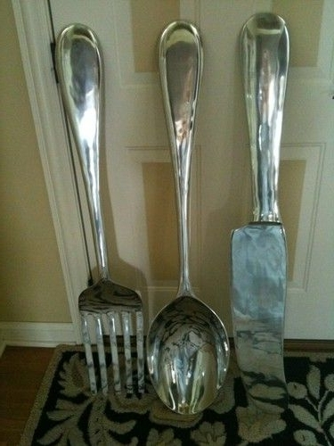 """Large S/3 Silver Fork Knife Spoon Wall Decor Metal Utensil Art 36""""h Throughout Most Current Large Utensil Wall Art (View 2 of 15)"""
