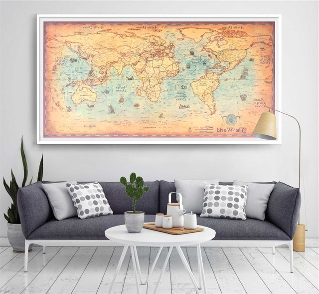 Large Size World Map Vintage Poster Retro Wall Art Ocean World Earth Within Newest Large Retro Wall Art (View 9 of 15)