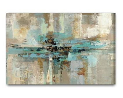 Large Teal Wall Art Inside Well Known Amazon: Decor Well Large Size Abstract Grey Teal Canvas Wall Art (View 7 of 15)