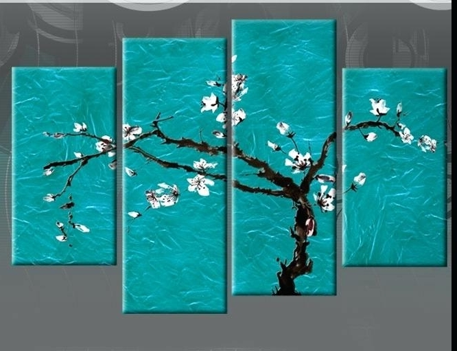 Large Teal Wall Art Pertaining To 2018 Ideas Wall Art And Canvas Large Teal Turquoise Blossom Tree  (View 8 of 15)