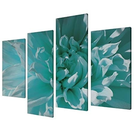 Large Teal Wall Art With Most Recent Large Teal Floral Flowers Canvas Wall Art Pictures Xl Prints Set (View 9 of 15)