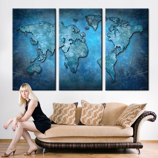Large Triptych Wall Art In Famous New Arrival Modular Large Triptych Wall Art Canvas World Map (View 3 of 15)