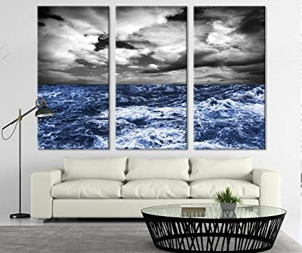 Large Triptych Wall Art Throughout Current Amazon: Extra Large Wall Art Canvas Storm In Ocean – Triptych (View 8 of 15)