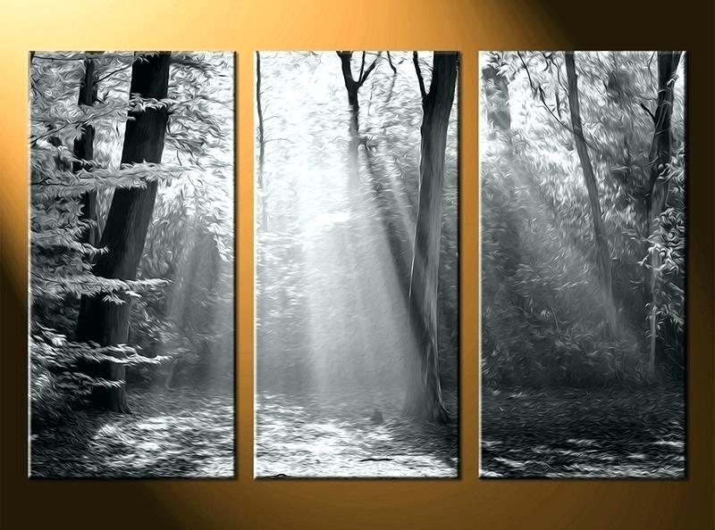 Large Triptych Wall Art With Current Large 3 Piece Wall Art 3 Piece Large Canvas Scenery Oil Paintings (View 9 of 15)