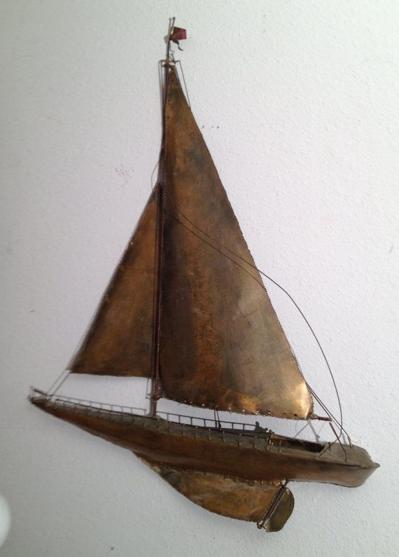 Large Vintage Sailboat Ship Metal Wall Art Sculpture Nautical Jere Inside Most Up To Date Sailboat Metal Wall Art (View 2 of 15)