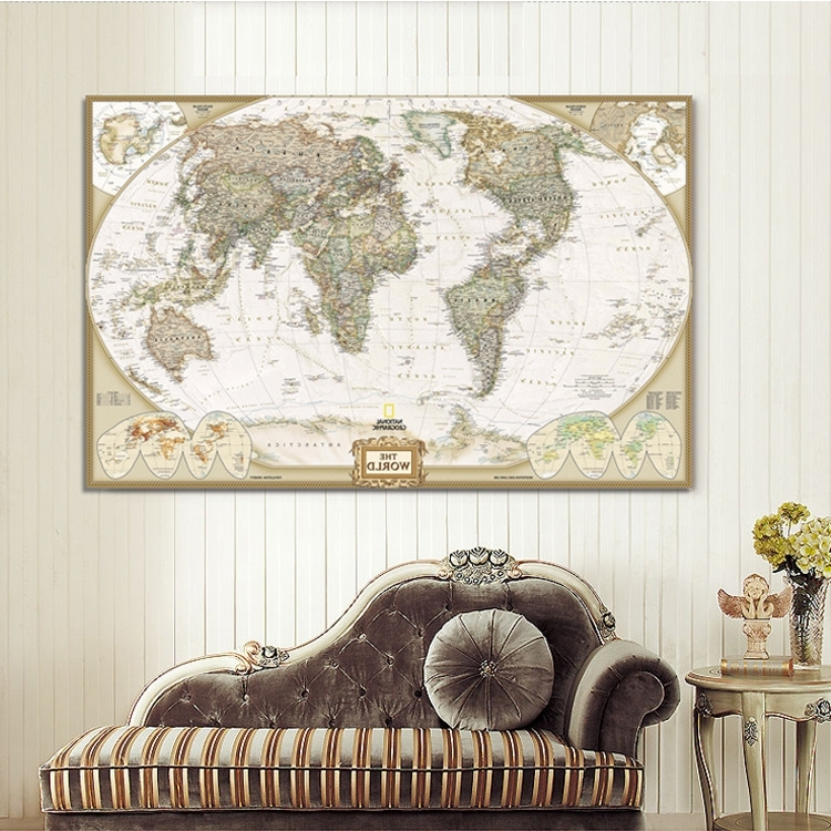 Large Vintage Wall Art With Regard To Most Up To Date World Map Painting On Canvas Prints Large Size Wall Art Europe (View 7 of 15)