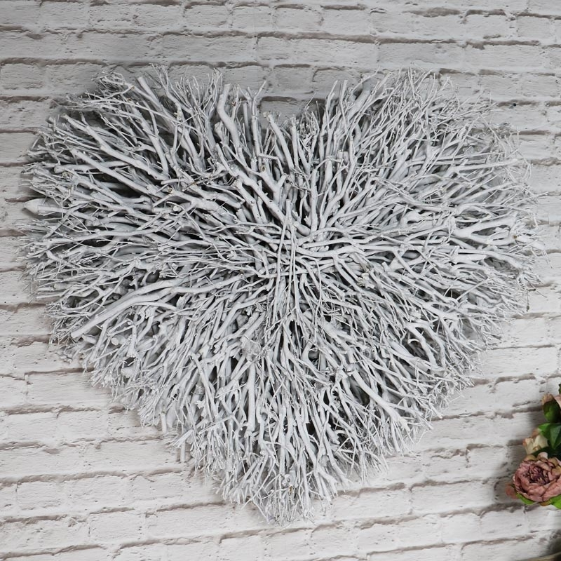 Large White Wall Art In Well Liked Large White Twig Heart Wall Art – Melody Maison® (View 6 of 15)