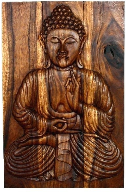 Large Wooden Buddha Wall Art Wall Decor Carved Wood Art Decor Wall In Fashionable Buddha Wood Wall Art (View 5 of 15)