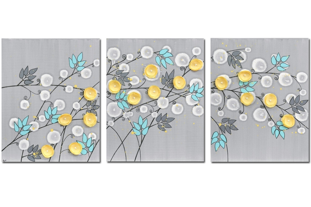 Large Yellow Wall Art Intended For Fashionable Gray And Yellow Wall Art Painting Of Flowers On Canvas – Large (View 7 of 15)
