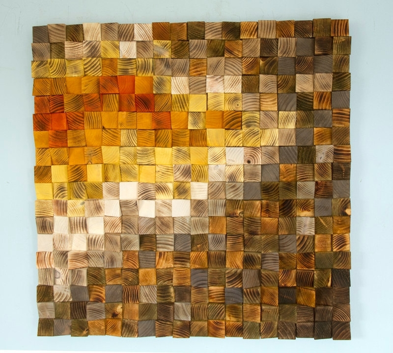 Large Yellow Wall Art Pertaining To Latest Large Wood Wall Art, Wood Mosaic, Geometric Art, Large Art Painting (View 5 of 15)