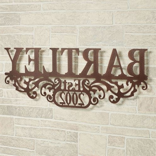 Last Name Wall Art Throughout Preferred Kinship Copper Family Name And Year Personalized Metal Wall Art Sign (View 7 of 15)