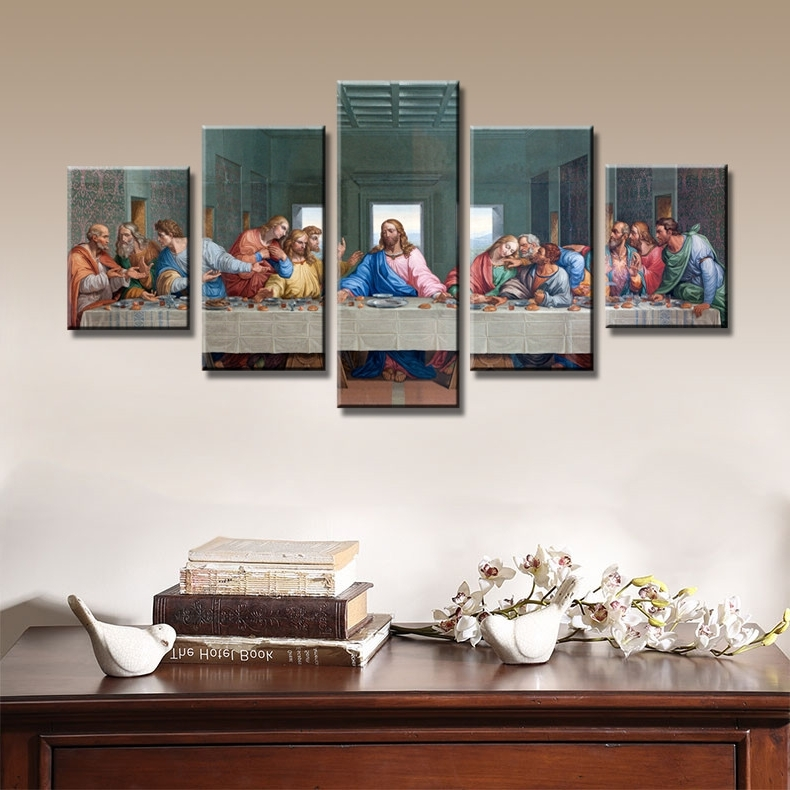 Last Supper Jesus Hd Christ Canvas Painting Wall Art Singer 5 Pieces With Regard To 2018 Last Supper Wall Art (View 5 of 15)