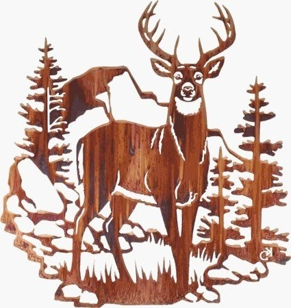 "Latest 18"" Lazart Metal Wall Art Wall Decor – Edge Of Silence (Deer) Intended For Lazart Metal Art (View 3 of 15)"