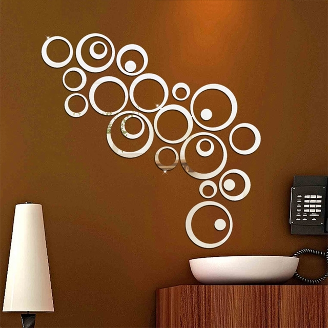 Latest 24Pcs/set 3D Diy Circles Wall Sticker Decoration Mirror Wall Regarding Circles 3D Wall Art (View 7 of 15)