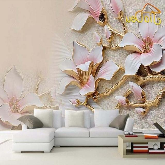 Latest 3D Flower Wall Art In Custom 3D Mural Wallpaper Stereo Relief Magnolia Flower Wall Art (View 2 of 15)