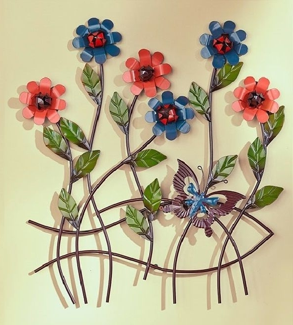 Latest 3D Garden Wall Art For Decor Of Metal Garden Flowers Outdoor Decor Floral 3D Butterfly (View 8 of 15)