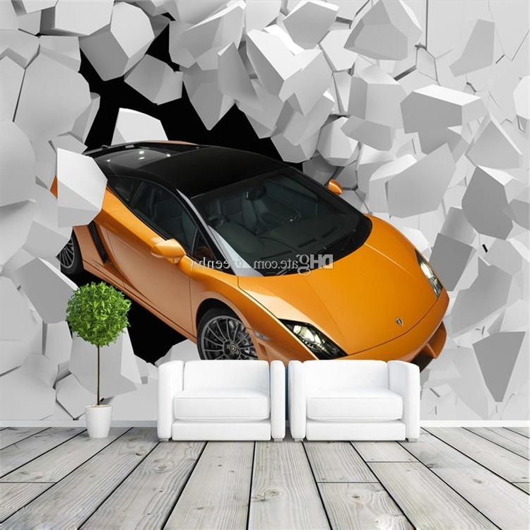 Latest 3D Sports Car Photo Wallpaper Giant Wall Mural Unique Design With Regard To Cars 3D Wall Art (View 12 of 15)