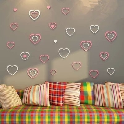 Latest 5Pcs Woody Love Heart 3D Wall Stickers Diy Modern Wall Art Removable For Heart 3D Wall Art (View 14 of 15)
