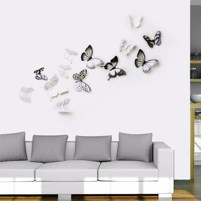 Latest 8Pcs/set Innovative 3D Multicolor Removable Butterfly Wall Stickers Within 3D Removable Butterfly Wall Art Stickers (View 9 of 15)