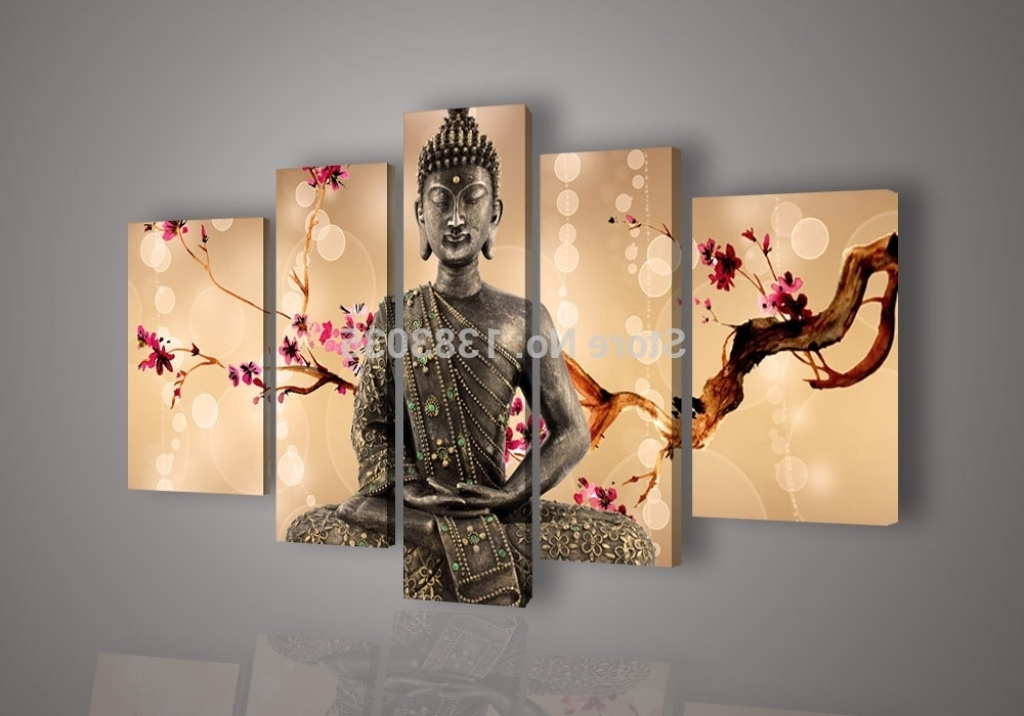 Latest Abstract Buddha Wall Art Pertaining To Large Buddha Wall Decor Flower Buddha Wall Art Oil Painting Modern (View 11 of 15)