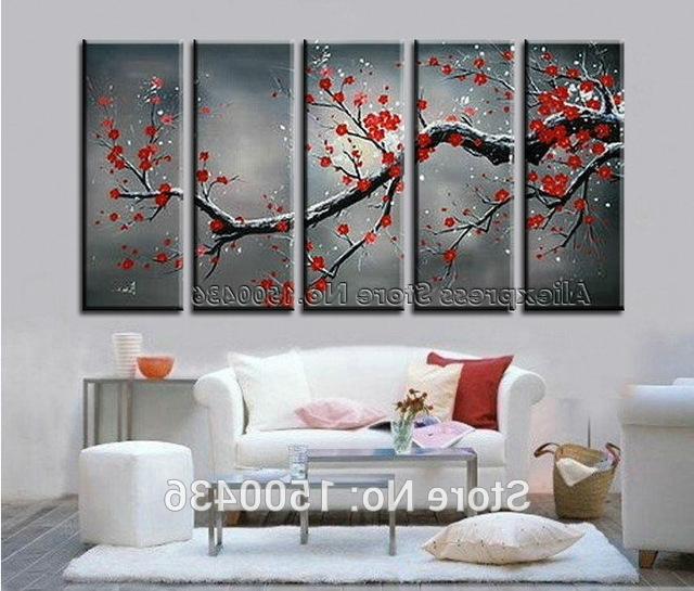 Latest Abstract Cherry Blossom Wall Art Intended For 5 Piece Cherry Blossom Paint Abstract Red Flower Oil Handpainted (View 13 of 15)